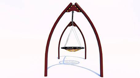 Качели «Гнездо» на металлических стойках с гибким подвесом, фото 2