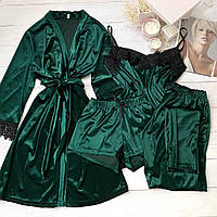 Женская велюровая пижама четверка XL