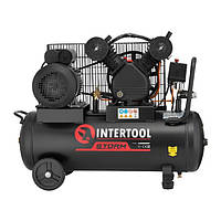 Компрессор 50 л, 3 кВт, 220 В, 10 атм, 500 л/мин, 2 цилиндра INTERTOOL PT-0016