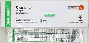 Скальпель одноразовый медицинский № 12/ Medicare, 1 шт.