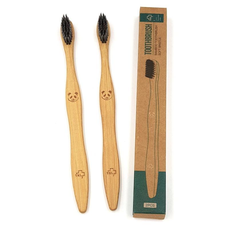 Взрослая зубная щетка из бамбука Панда 2 шт 18.5 см