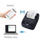 Портативный термо принтер чеков H200 58мм Bluetooth Мобильный принтер для пPPO Checkbox, СОТА, фото 6
