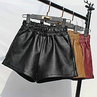 Женские кожаные шорты на резинке, фото 1