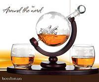Подарочный набор для виски штоф и 2 стакана на деревянной подставке BST 640014