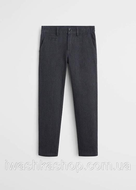 Стильные серые штаны, брюки в полоску на мальчика 6 лет, р. 116, Mango