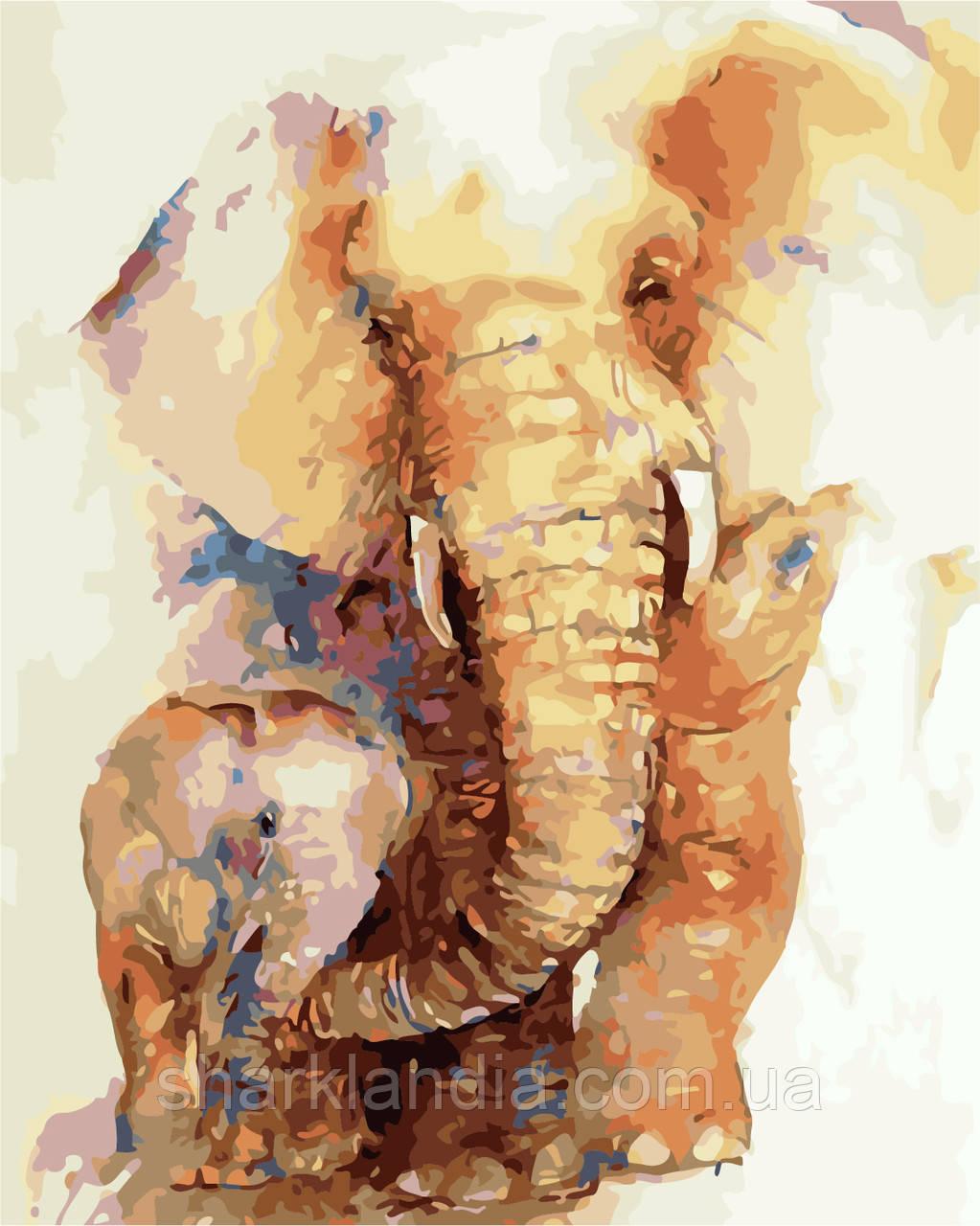 """Картина за номерами """"Слони"""" 40*50см"""