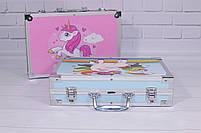 Набор для детского творчества в чемодане 145 предметов, большой набор рисования, Набор художника, фото 3
