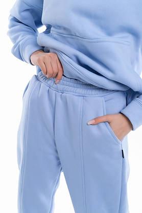 Штаны женские джогеры теплые на флисе зимние спортивные Basic Intruder голубые Oversize осенние весенние, фото 3