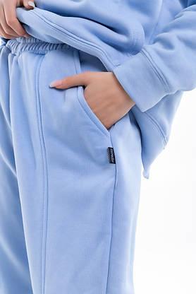 Штаны женские джогеры теплые на флисе зимние спортивные Basic Intruder голубые Oversize осенние весенние, фото 2