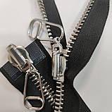 Молния металлическая перекидная 85 см длина, 2 бегунка. Цвет основы черный, цвет звена серебро, фото 6
