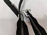 Молния металлическая перекидная 85 см длина, 2 бегунка. Цвет основы черный, цвет звена серебро, фото 3