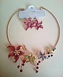 Набор бижутерии под серебро с бежевыми цветами и разноцветными камнями, колье и серьги, фото 8