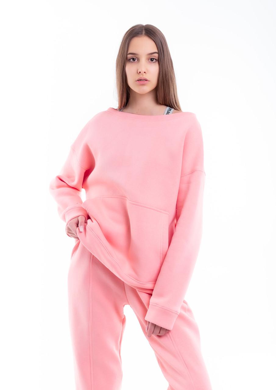 Свитшот Женский демисезонный Intruder Brand Basic розовый на флисе кофта толстовка Oversize