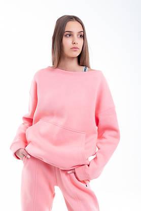 Свитшот Женский демисезонный Intruder Brand Basic розовый на флисе кофта толстовка Oversize, фото 2
