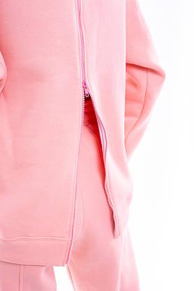 Свитшот Женский демисезонный Intruder Brand Basic розовый на флисе кофта толстовка Oversize, фото 3