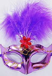 Карнавальная  маска   Венеция  с пером  (3 пера)