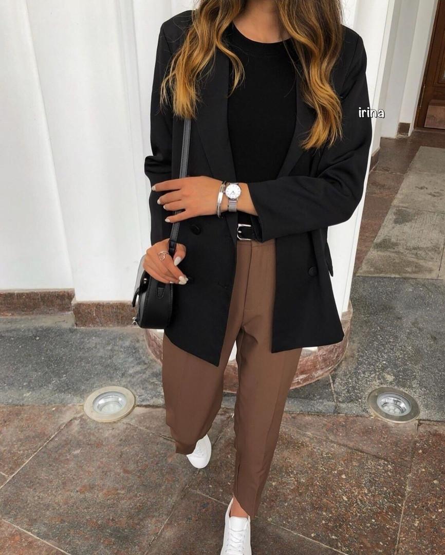 Женские брюки, костюмка, р-р С-М; М-Л (шоколадный)
