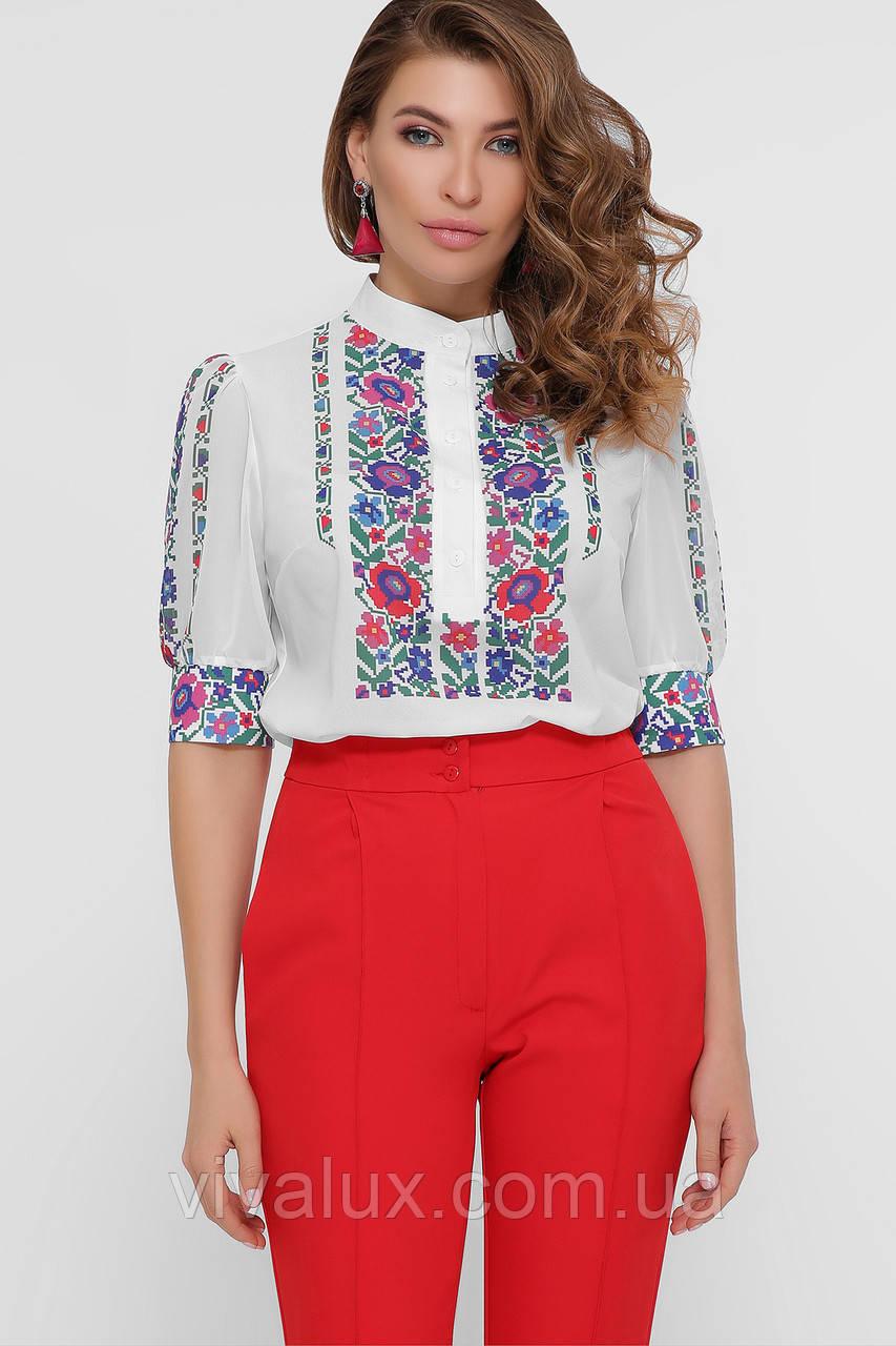 GLEM Цветы вышивка блуза Лисанна к/р