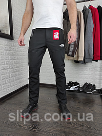 Мужские утеплённые штаны The North Face чёрные с ремнём