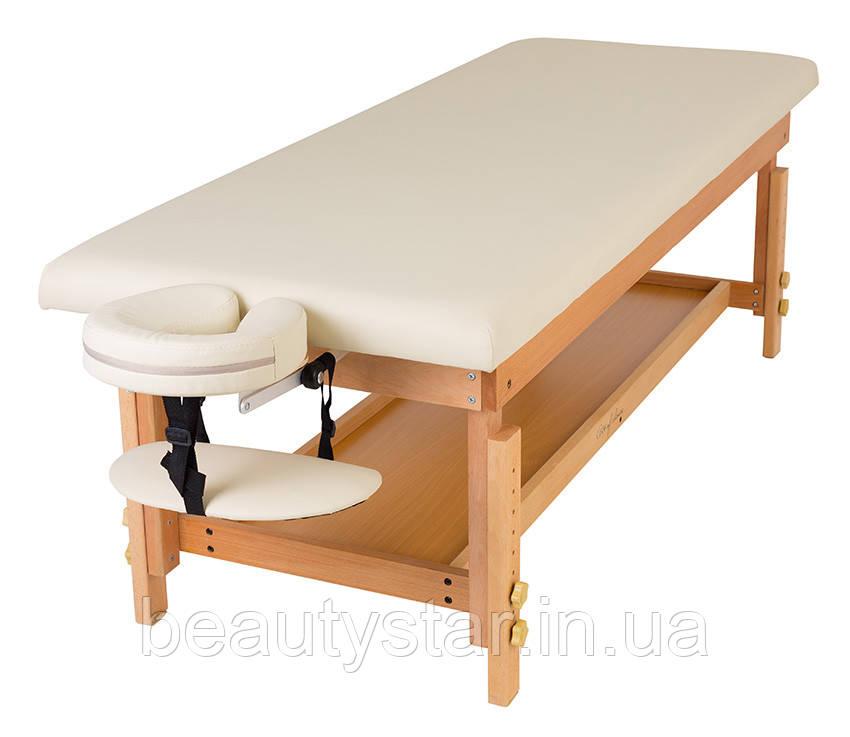 Стаціонарний масажний стіл 1 секція дерев'яний каркас з регулюванням висоти + регульований підголівник MAT