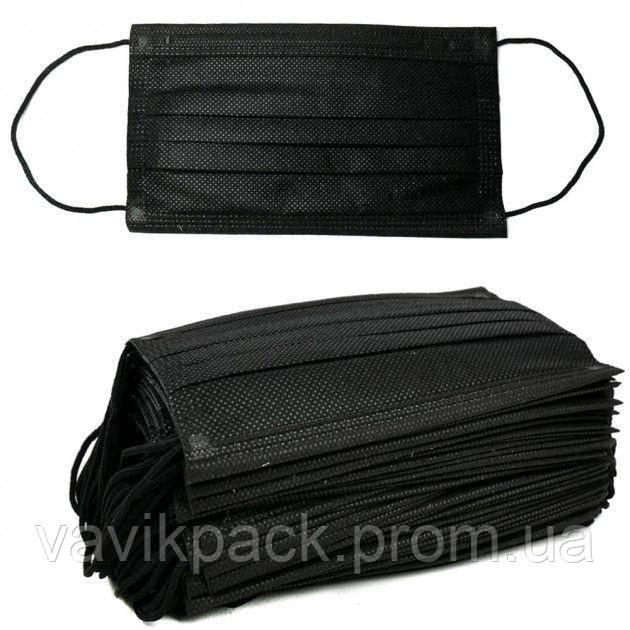 Маска  защитная черная  трехслойная 50шт