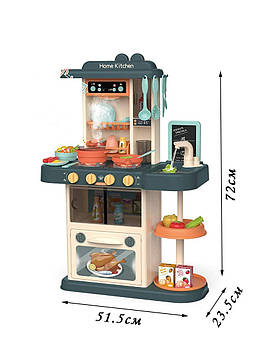 Игровая детская кухня для мальчика с подсветкой Beibe Good 38 предметов-кухонная утварь, овощи и фрукты