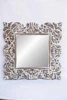 Состаренное зеркало в спальню настенное в деревянной раме Ажур BST 530267