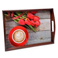 Мягкий поднос с ручками BST 48*33 коричнево-красный Завтрак в постель