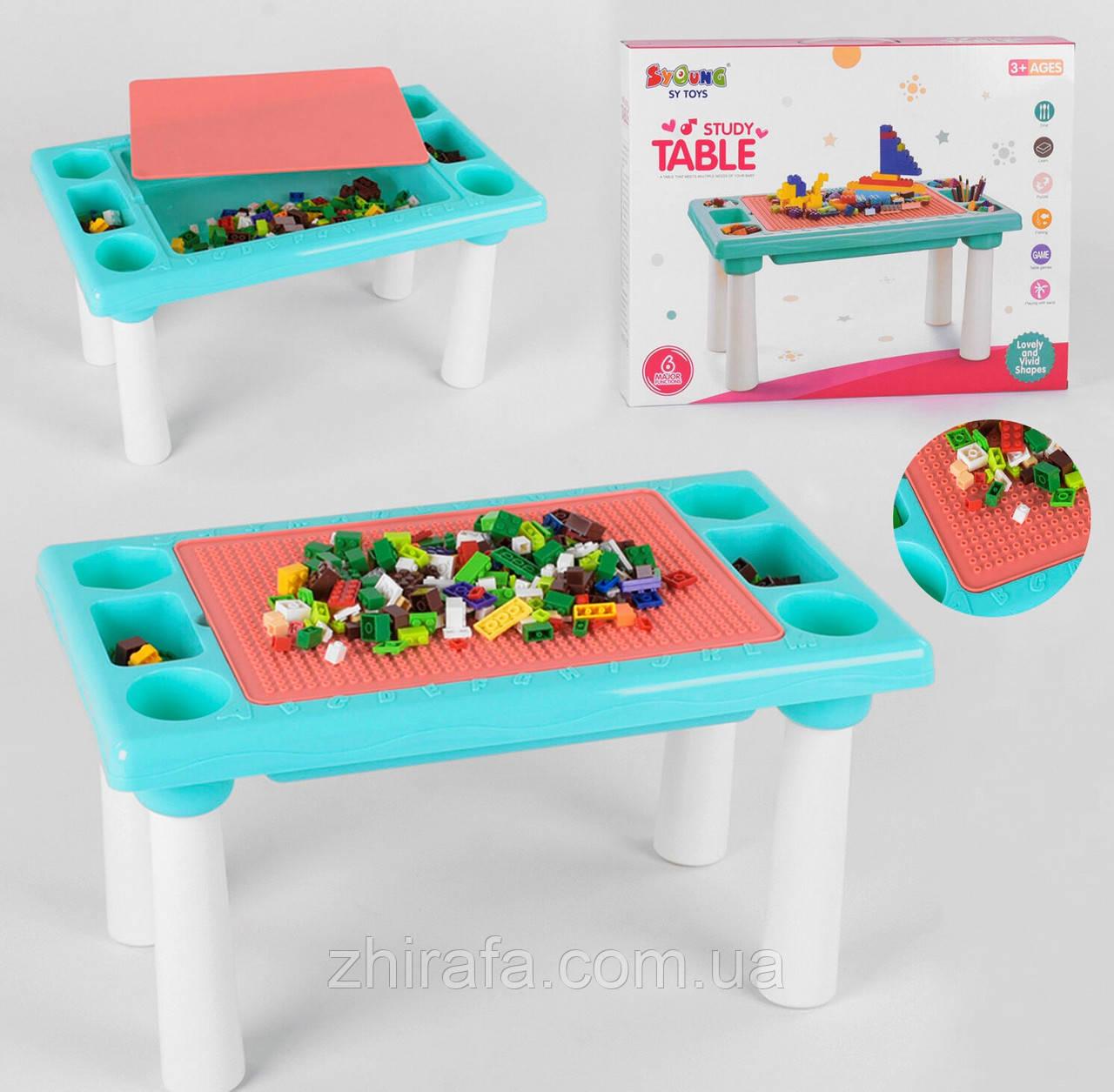 Развивающий столик с конструктором Игры с лего, песком 300 деталей