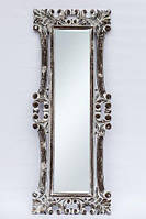 Зеркало в деревянной раме в прихожую на стену BST 530077 145*55 см серое