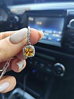 """Серебряные серьги """"Страсть"""" с Желтым камнем в центре и фианитами, фото 1"""