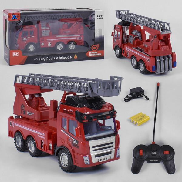 Пожарная машина на пульте управления игрушка детская XYM Спецтехника со светом и звуком Красная (35935)