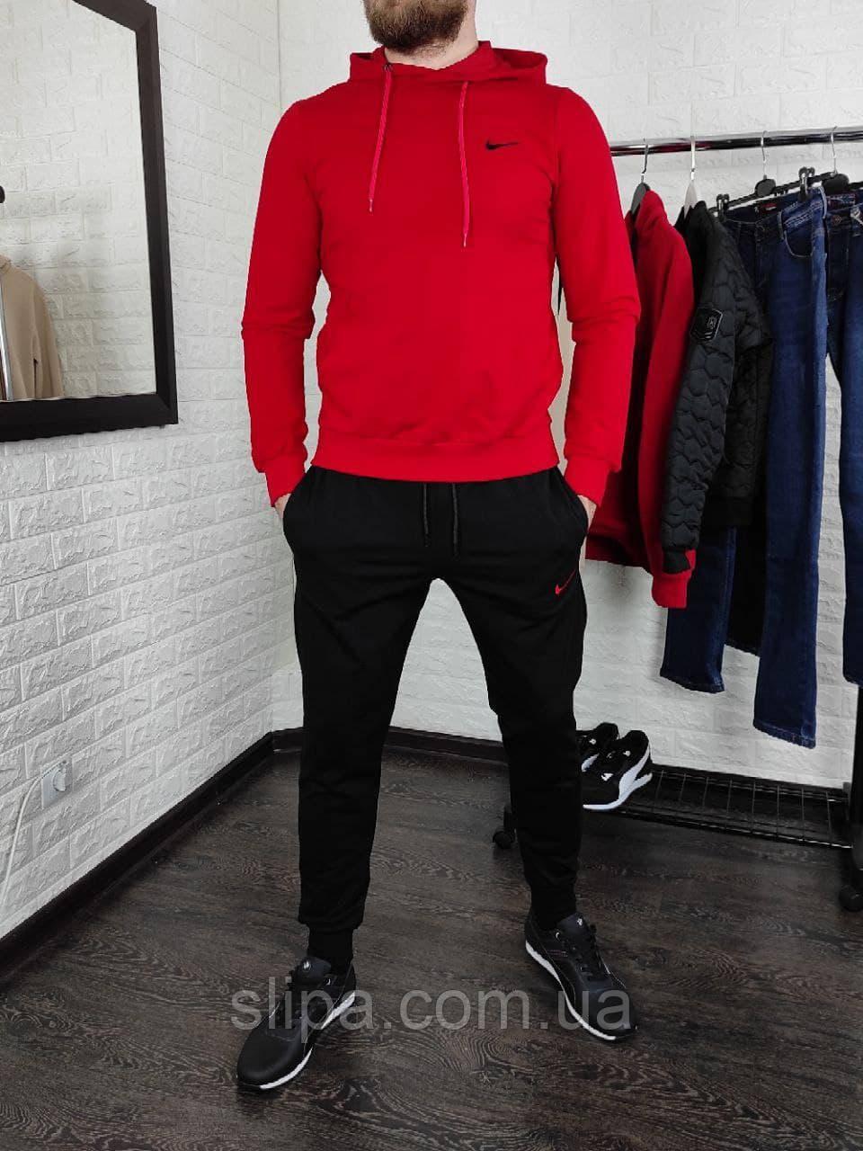 Мужской спортивный костюм Nike с капюшоном красный с чёрным
