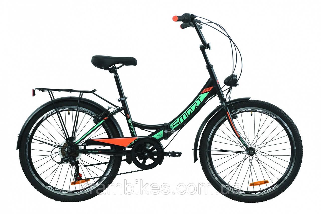 """Велосипед Formula - Smart (2020) (24""""-13"""") черно-оранжевый с бирюзовым"""
