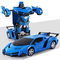 Машинка Трансформер Lamborghini Robot Car Size 18 - Синяя, Машинка на радиоуправлении, на пульте управления