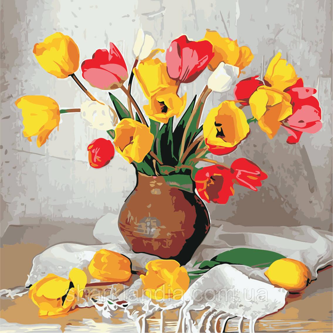 Картина за номерами ArtStory Кольорові тюльпани 40*40см