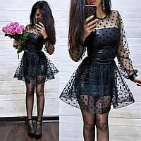 Нарядное красивое кожаное платье с сеткой в горох очень эффектное и стильное