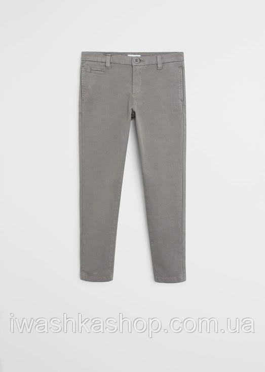 Брендовые серые брюки чинос на мальчика 10 лет, р. 140, Mango