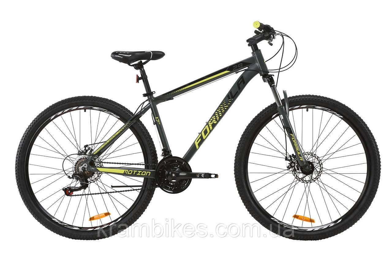"""Велосипед Formula - Motion 14G DD (2020) (29""""-19"""") Серый/Салатовый"""