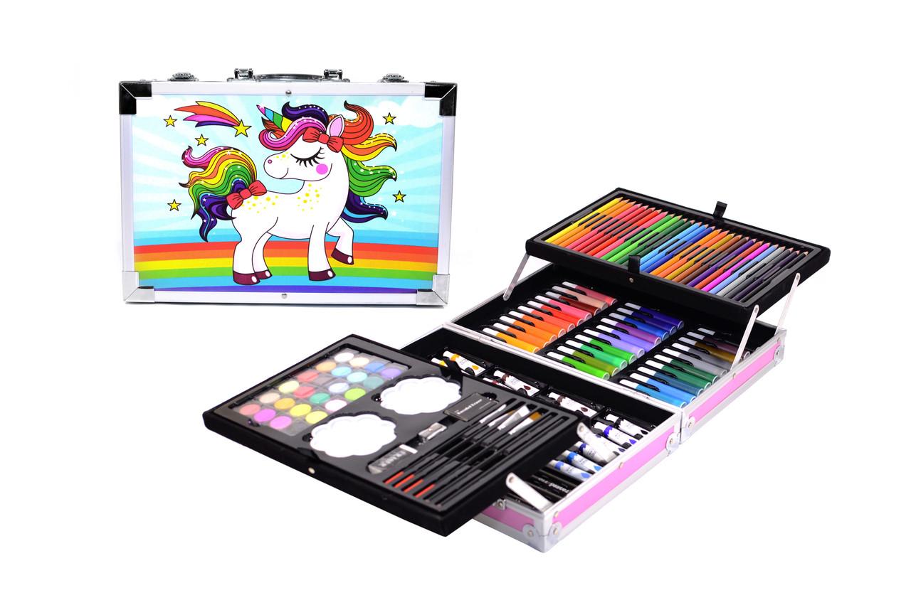 Набор для детского творчества в чемодане 145 предметов, большой набор рисования, Набор художника