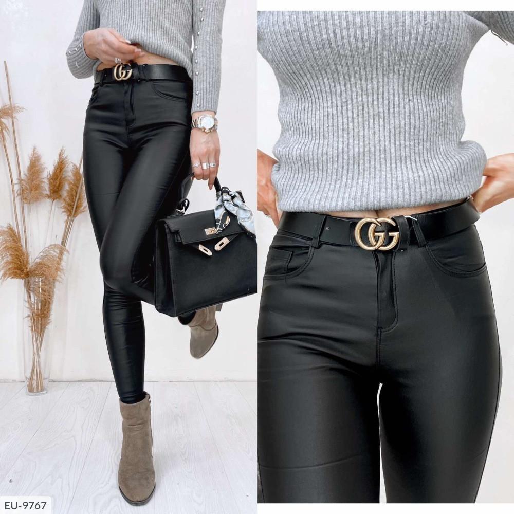 Женские брюки диско кожа на флисе