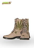 Обувь из конопли. Ботинки мужские с высокими берцами «Листок»
