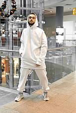 Костюм мужской спортивный зимний Oversize Intruder белый Худи толстовка на флисе+штаны белые теплые+Подарок, фото 3