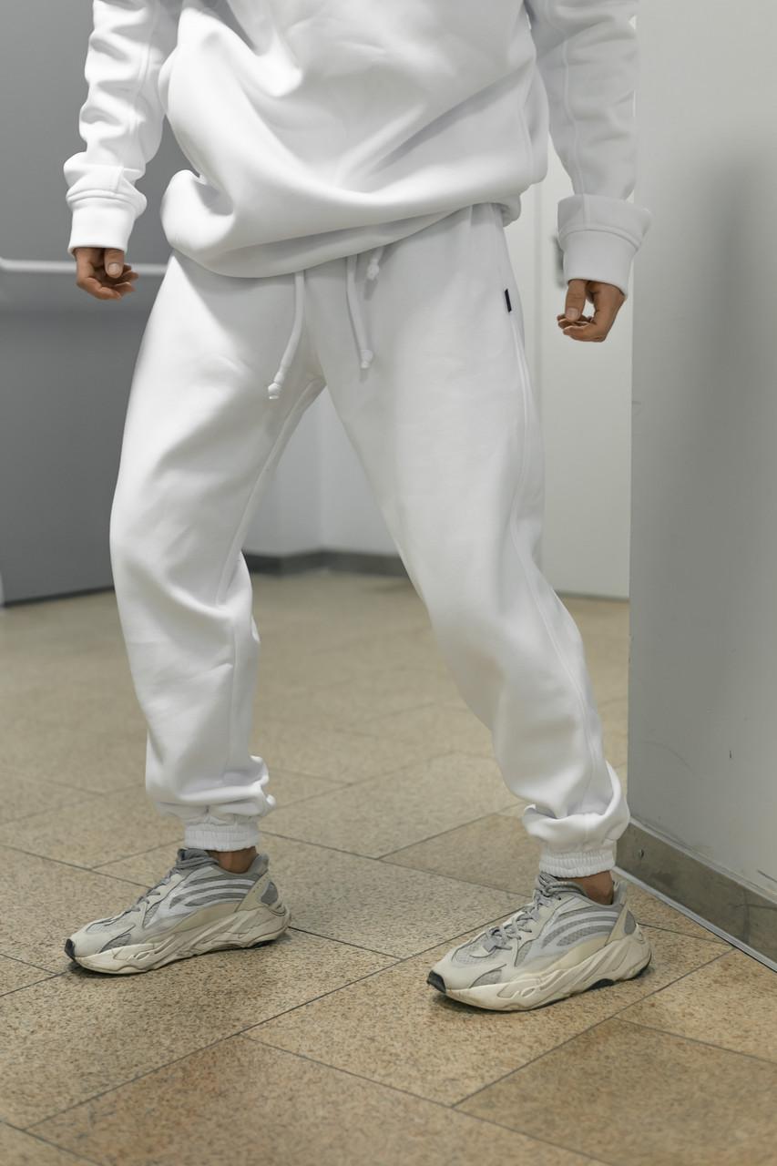 Штаны зимние мужские на флисе Intruder белые спортивные теплые мужские брюки