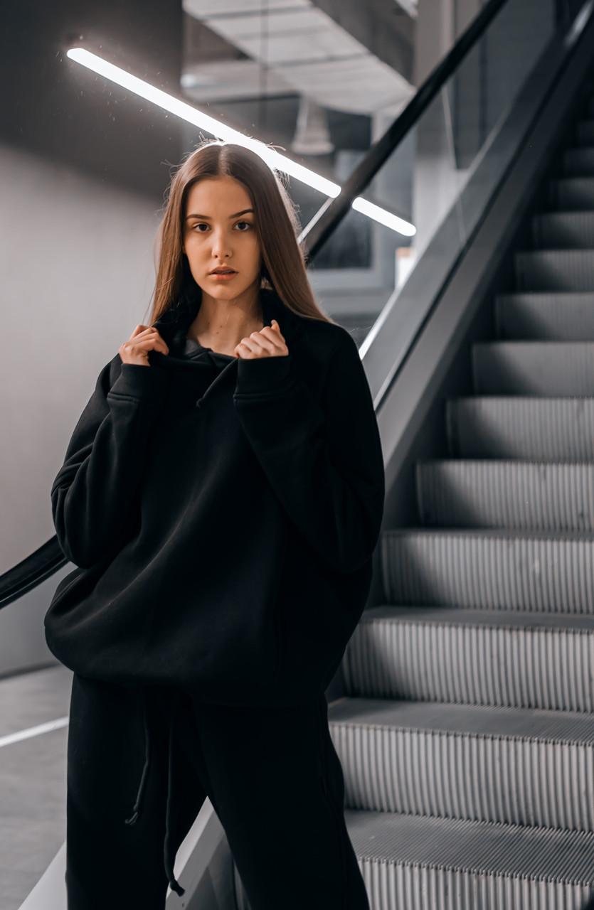 Худи Женское теплое зимнее демисезонное Intruder Brand черное на флисе кофта толстовка Oversize