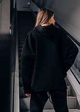 Худи Женское теплое зимнее демисезонное Intruder Brand черное на флисе кофта толстовка Oversize, фото 3