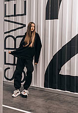 Худи Женское теплое зимнее демисезонное Intruder Brand черное на флисе кофта толстовка Oversize, фото 2