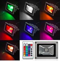Светодиодный прожектор 20Вт 1000Лм IP65 RGB цветной с пультом