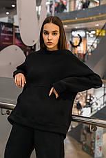 Свитшот Женский теплый зимний демисезонный Intruder Brand Basic черный на флисе кофта толстовка Oversize, фото 2
