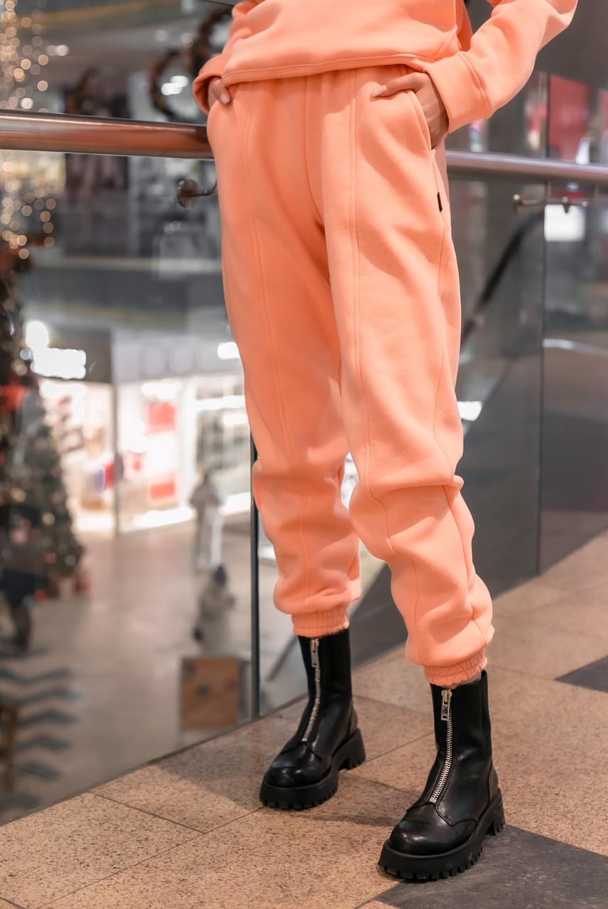 Штаны женские джогеры теплые на флисе зимние спортивные Basic Intruder розовые Oversize S/M